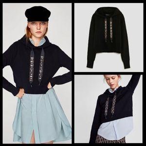 Zara BeJeweled Gem Cropped Hoodie Pullover Sweater